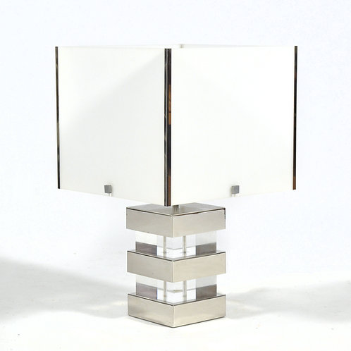 Lucite and Chrome 1970s Table Lamp