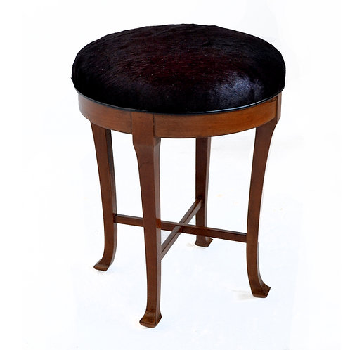 Danish Mahogany Stool Upholstered in Hairy Hide