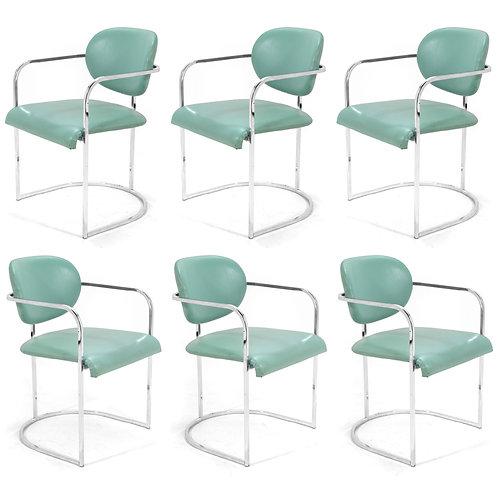 DIA Set of Six Chrome Framed Armchairs