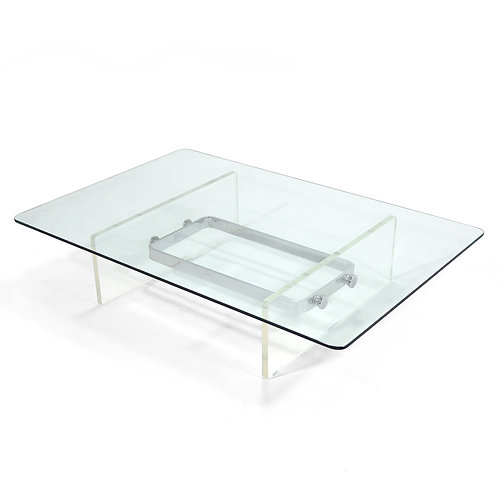 Large, Low Lucite and Chrome Coffee Table
