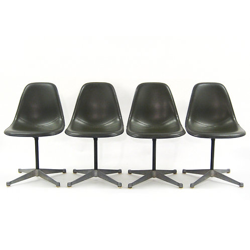 Set of Eames Upholstered Side Chairs
