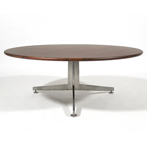 Ward Bennett Rosewood and Aluminum Coffee Table