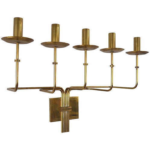 Tommi Parzinger Brass Five Arm Candelabra Sconce