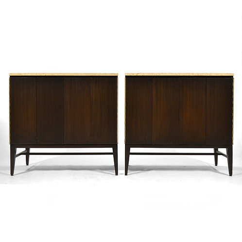 Pair of Paul McCobb Cabinets/ Credenzas with TravertineTops