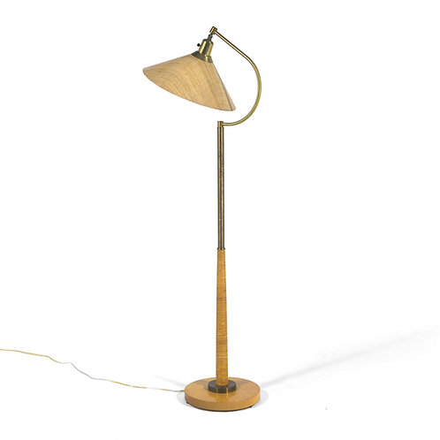 1950s Floor Lamp in Brass and Cane
