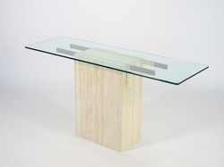 Travertine and Glass Table by Ello