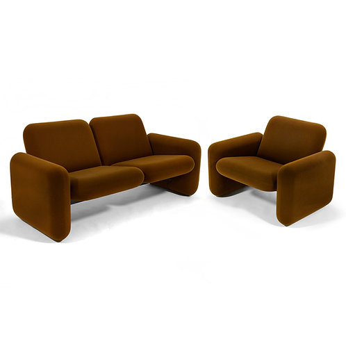 """Ray Wilkes """"Chicklet"""" Sofa and Lounge Chair by Herman Miller"""