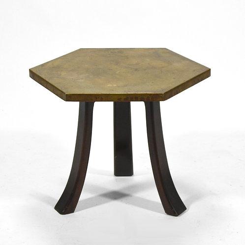 Harvey Probber Hexagonal Side Table with Bronze Top