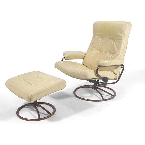 Ekornes Stressless Lounge Chair & Ottoman w/ Copper Base