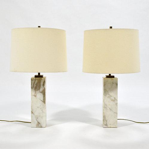 T.H. Robsjohn-Gibbings Pair of Marble Table Lamps by Hansen