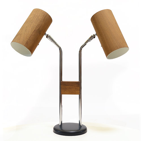 Holzzylinder Walnut & Chome Desk Lamp