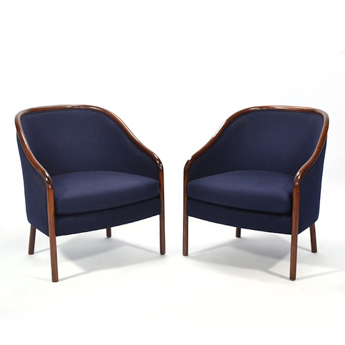 Pair of Ward Bennett Barrel Back Lounge Chairs