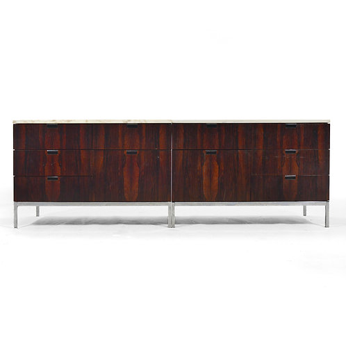 Pair of Rosewood Florence Knoll Credenzas with Marble Tops
