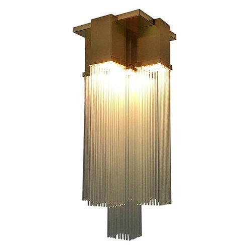 "Gaetano Sciolari for Lightolier ""Skyscraper"" Glass Rod and Brass Chandelier"