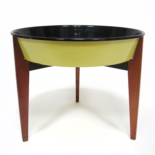 Danish Teak Catch-All/ Planter with Enamel Bowl