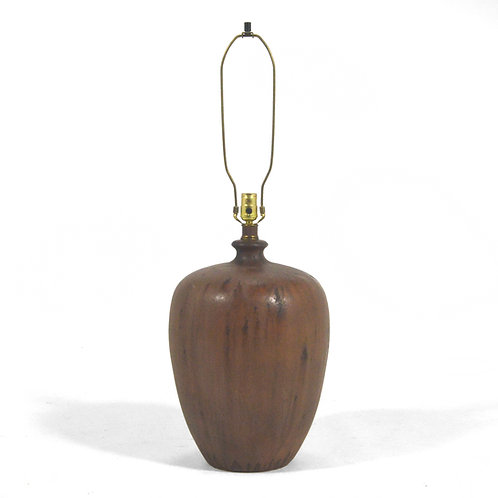 Large Ceramic Table Lamp with Matte Brown Glaze