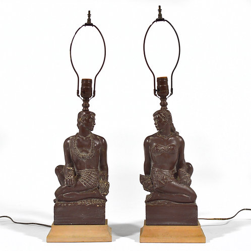 Pair of Hawaiian Figurative Lamps