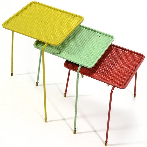 Mathieu Matégot Set of Three Soumba Nesting Tables