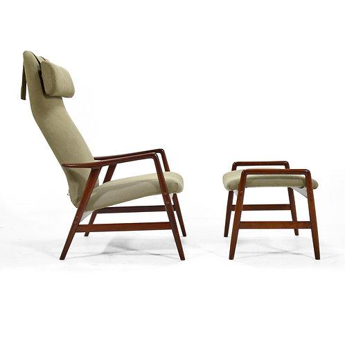 Alf Svensson Kontour Reclining Lounge Chair & Ottoman