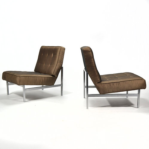 Pair of Florence Knoll Armless Lounge Chairs