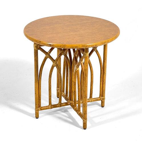 McGuire Rattan & Oak Side Table