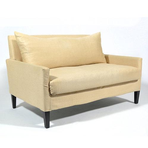 French Loveseat Upholstered in Linen