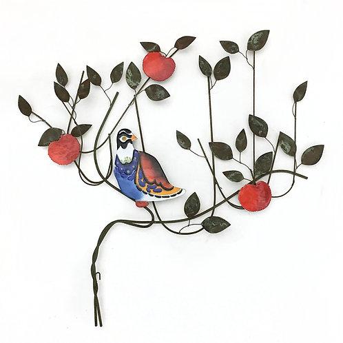 C. Jeré Bird in a Tree Enameled Wall Sculpture