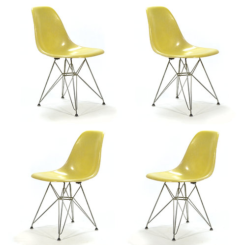 Set of 4 Eames DSR Side Chairs with Eiffel Bases