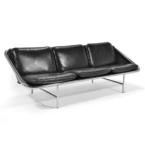 George Nelson Sling Sofa in Black Leather