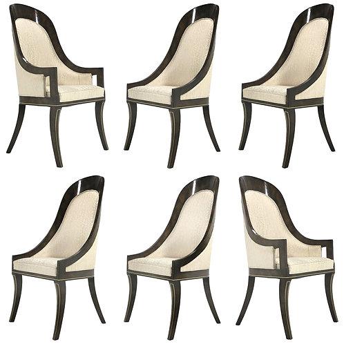 Mastercraft Amboyna & Brass Spoonback Dining Chairs & Table