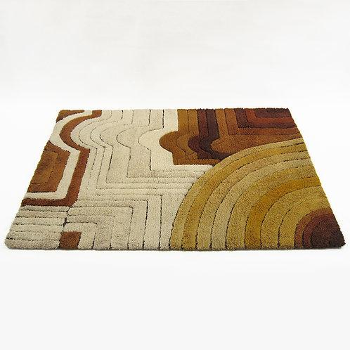 1970s German deep pile graphic rug