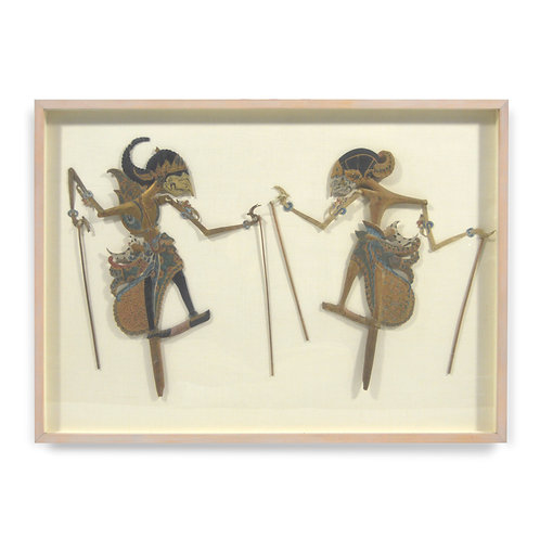 Pair of Mounted and Framed Wayang Shadow Puppets