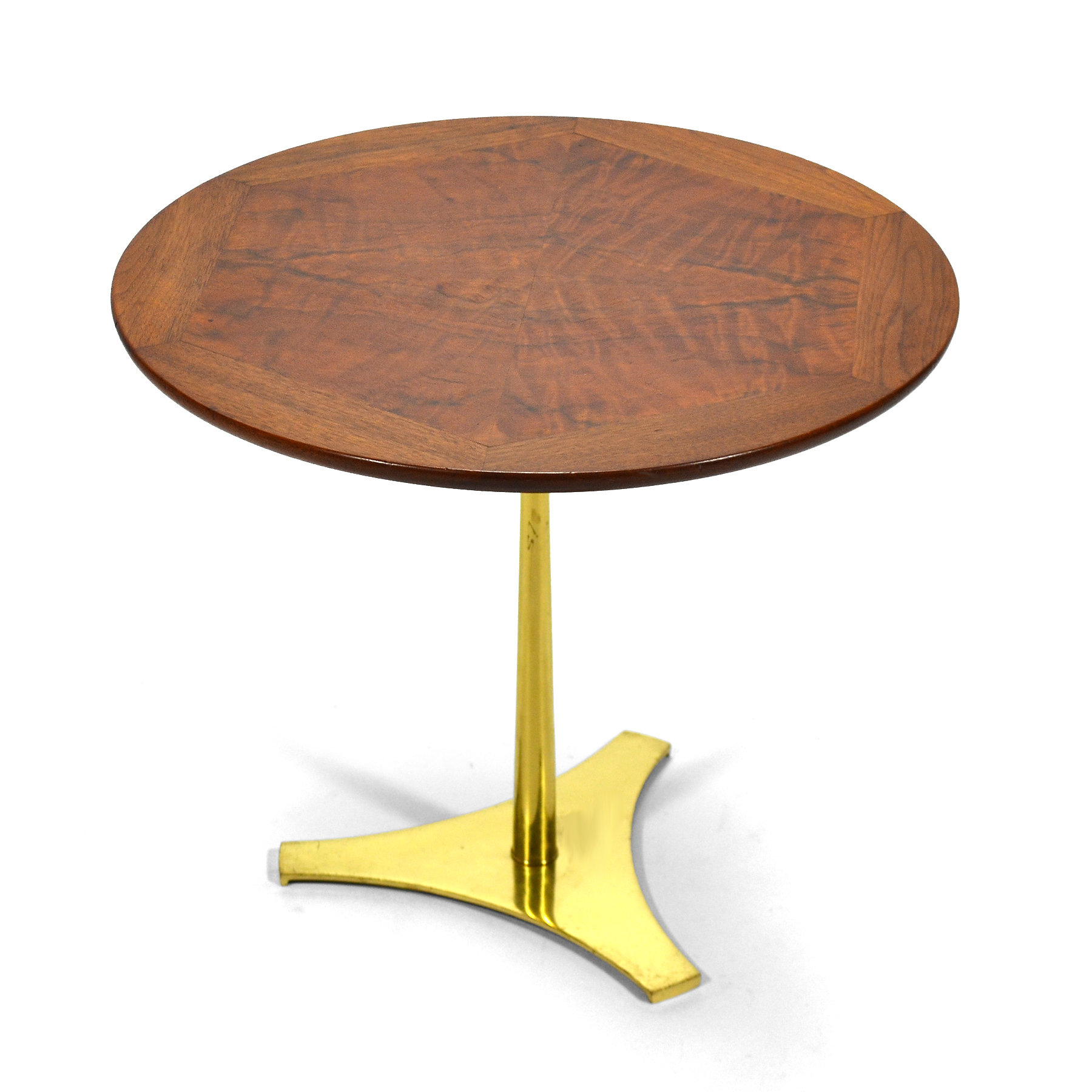 This Elegant Pedestal Table Can Be Used Anywhere. The Burl And Walnut Top  Sits On A Brass Reverse Trefoil Base. Designed By Milo Baughman For Arch  Gordon ...