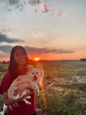 Red sunbeams and fluffy puppies smiley f