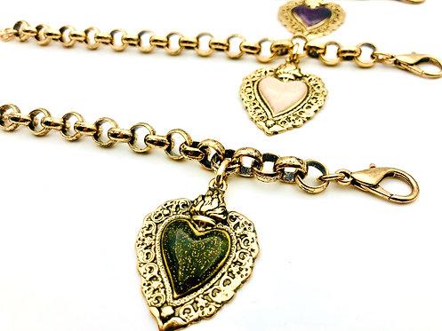 Bracciale Catena Grande Cuore Sacro Grande Gold Antico