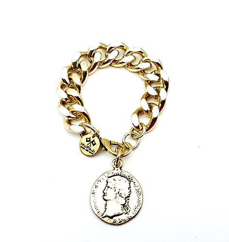 Bracciale Groumette con Moneta Antica Gold Large