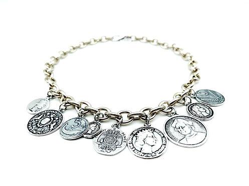 Collana Multi Monete Antiche Silver