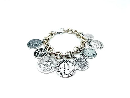 Bracciale Multi Monete Antiche Silver