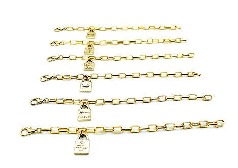 Bracciale Catena Geometrica con Lucchetto Gold