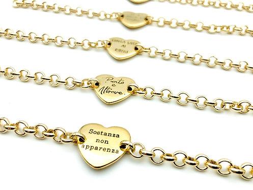 Mini Bracciale Heart Centrale Gold
