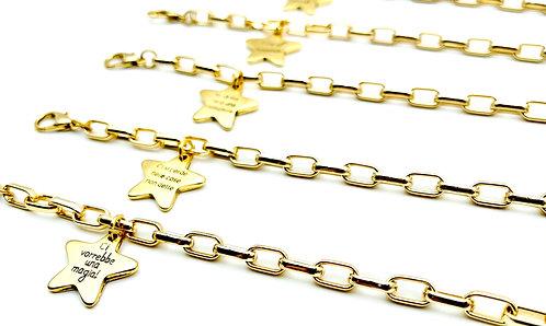 Bracciale Catena Geometrica con Stella Gold