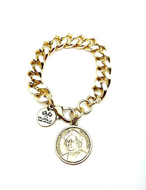 Bracciale Groumette con Moneta Antica Gold Medium