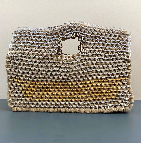 Le Ring bag : «Rectangle : beige, bleu et blanc »