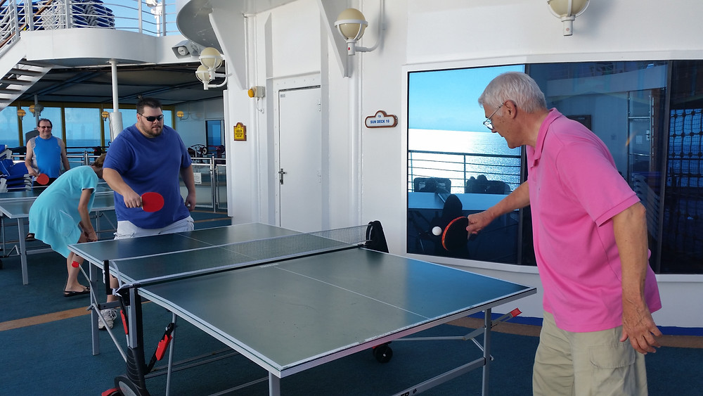 playing Ping Pong on the ship