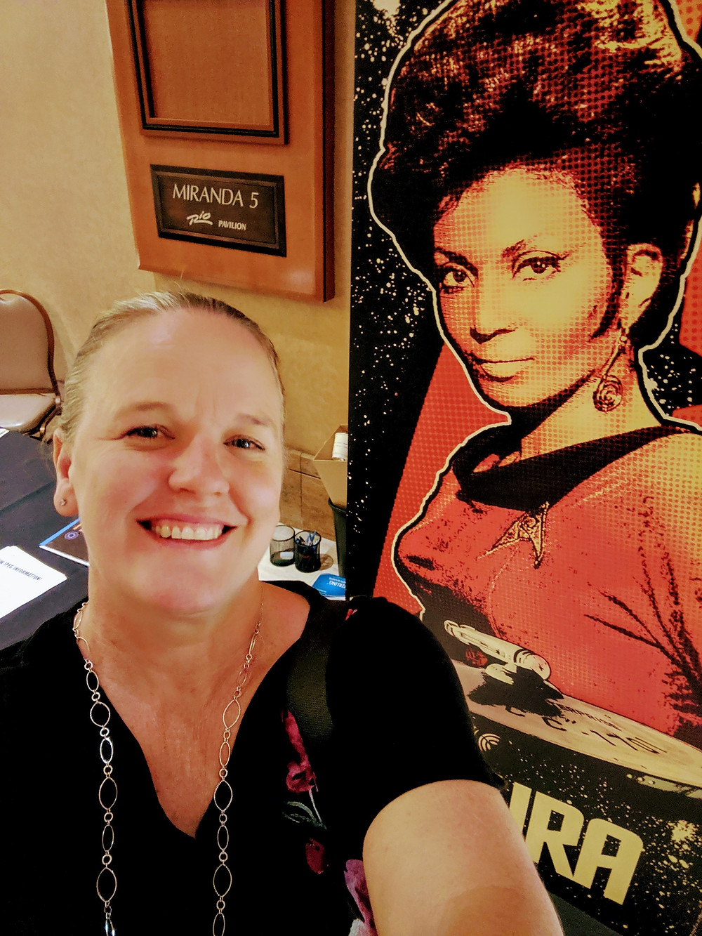 Me and a cut out of Nichelle Nichols