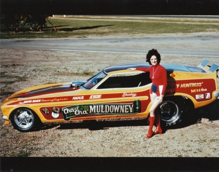 Shirley Muldowney with her car Bountry Huntress