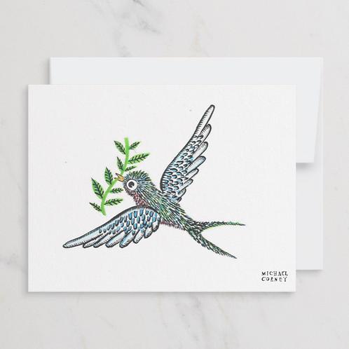 Peace Bird flat notecard