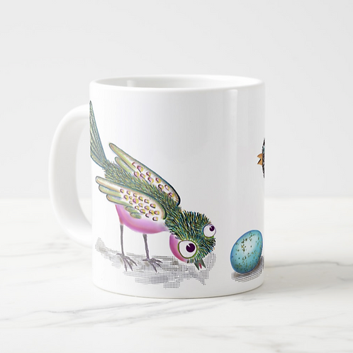 Who? What? Pink Bird Jumbo Mug