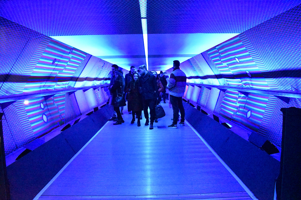 Tunnel with RGB light @ Canary Wharf Winter Lights - photography by Sabi Kiesel