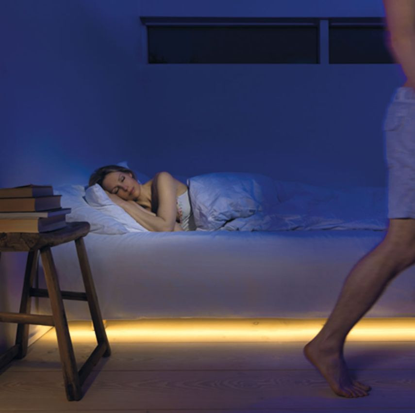 Under bed night lights activated by movement sensor